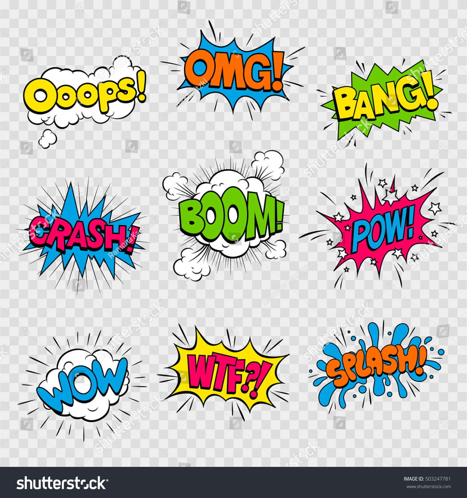 Vector Illustration Colorful Cartoon Sound Effects Stock Vector Royalty Free 503247781