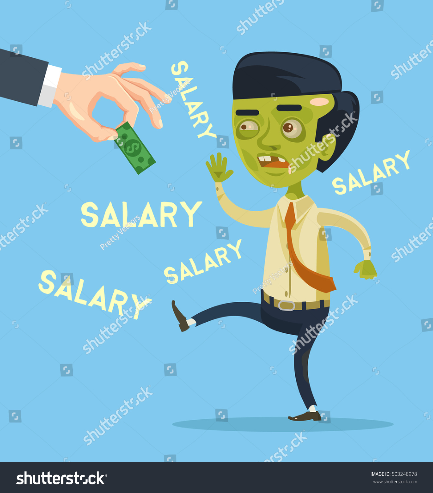 Animation Character Designer Salary : Zombie office worker character try catch stock vector
