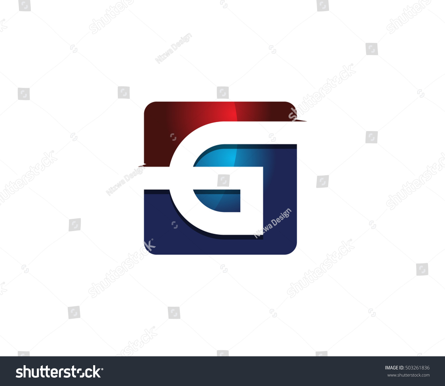 modern colorful g letter 3d square negative space logo design