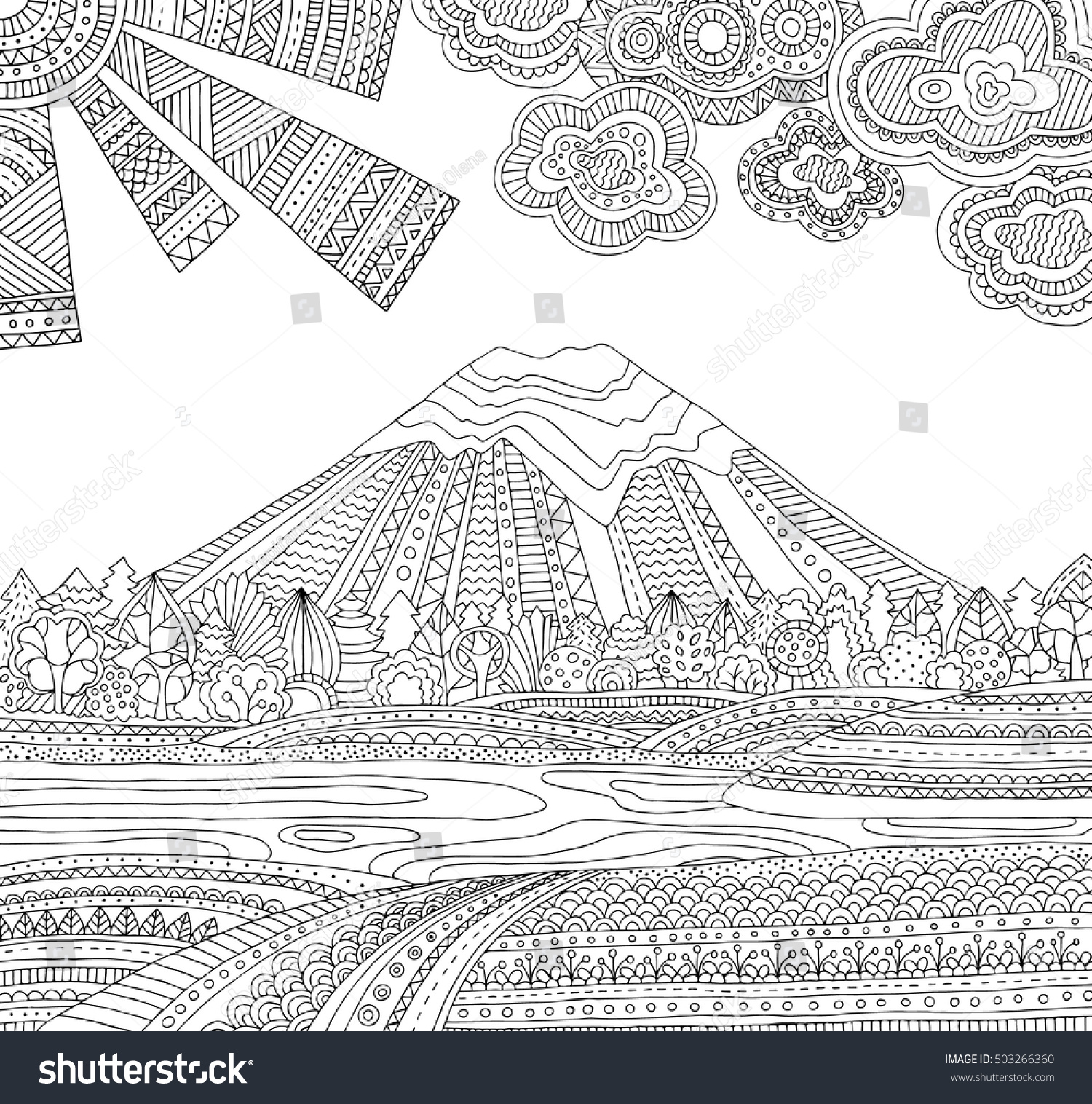 Printable Coloring Page For Adults With Mountain Landscape