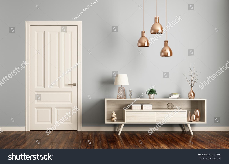 Modern Interior Living Room Door Sideboard Stock Illustration ...