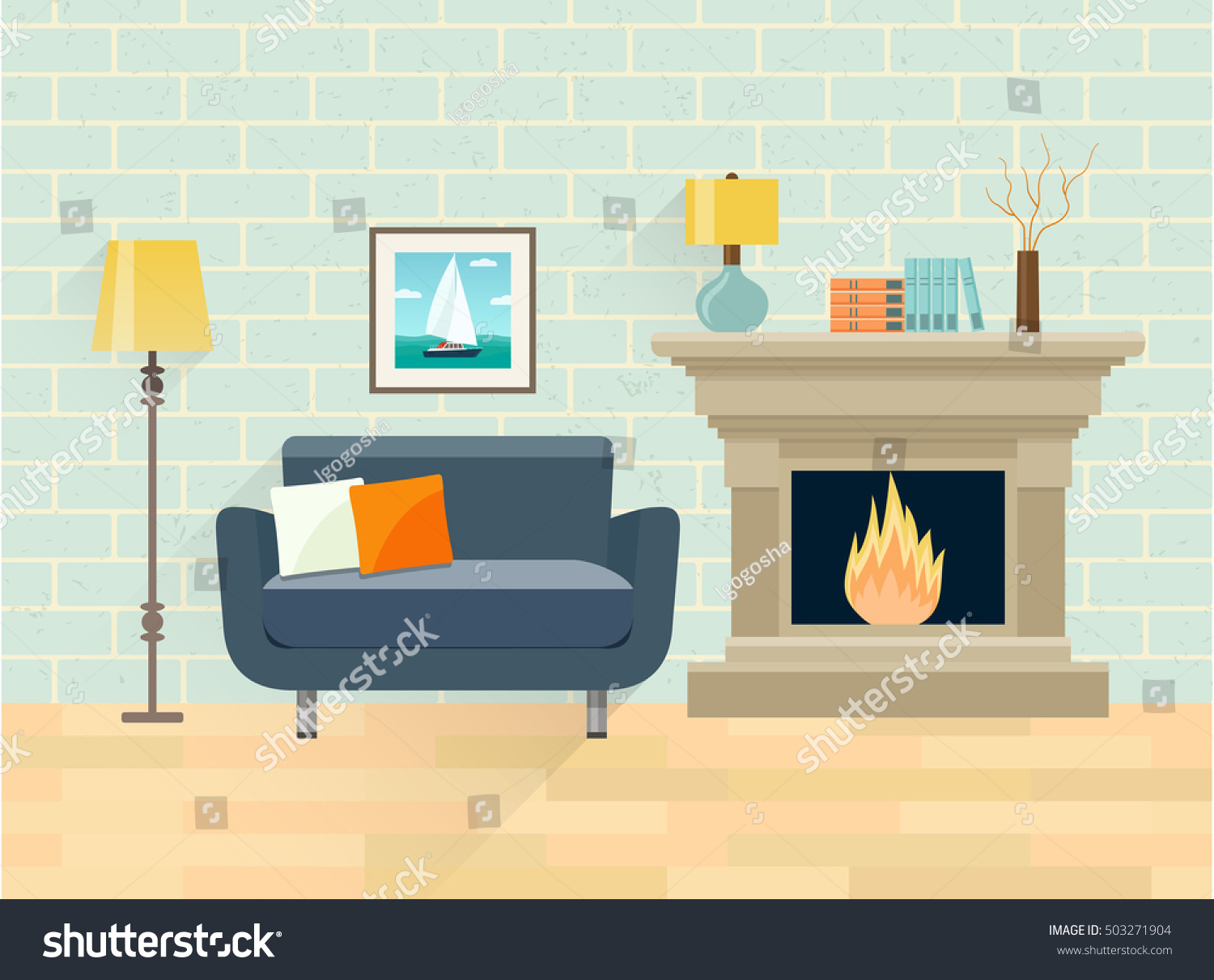 interior living room fireplace chair vector stock vector 503271904