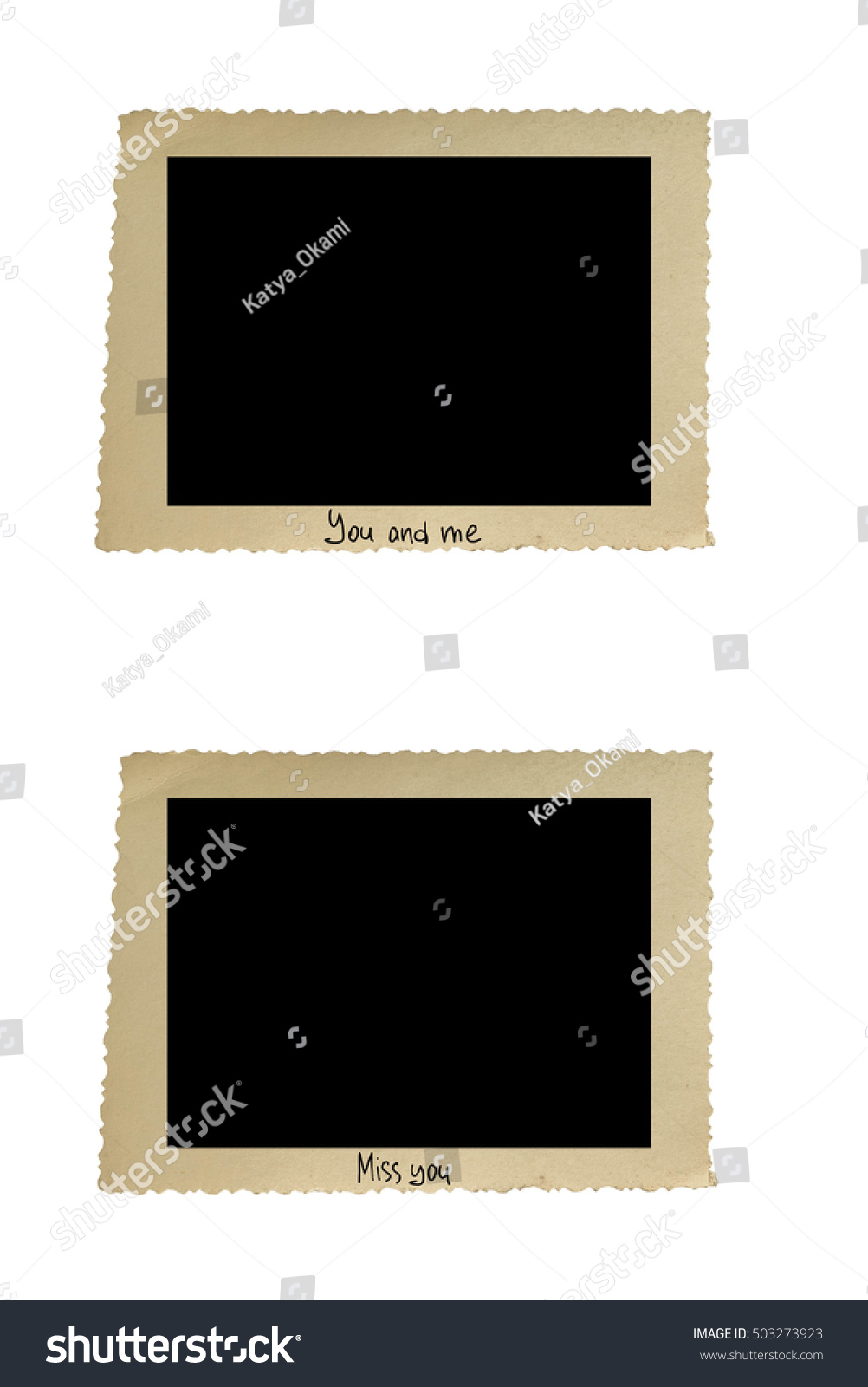 Set Old Blank Photo Frames Handwritten Stock Photo (Royalty Free ...
