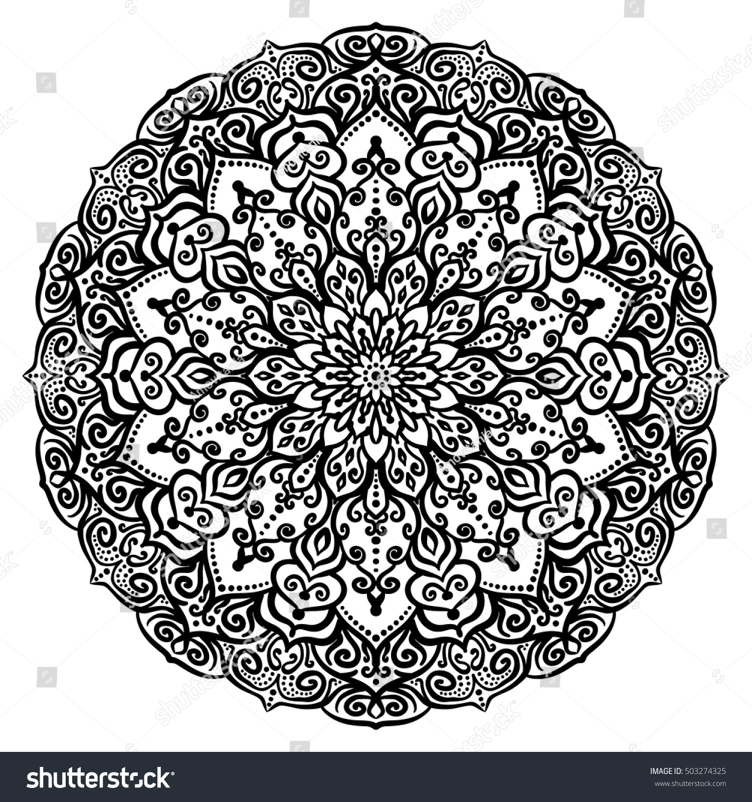 vector flower coloring page color book stock vector 503274325