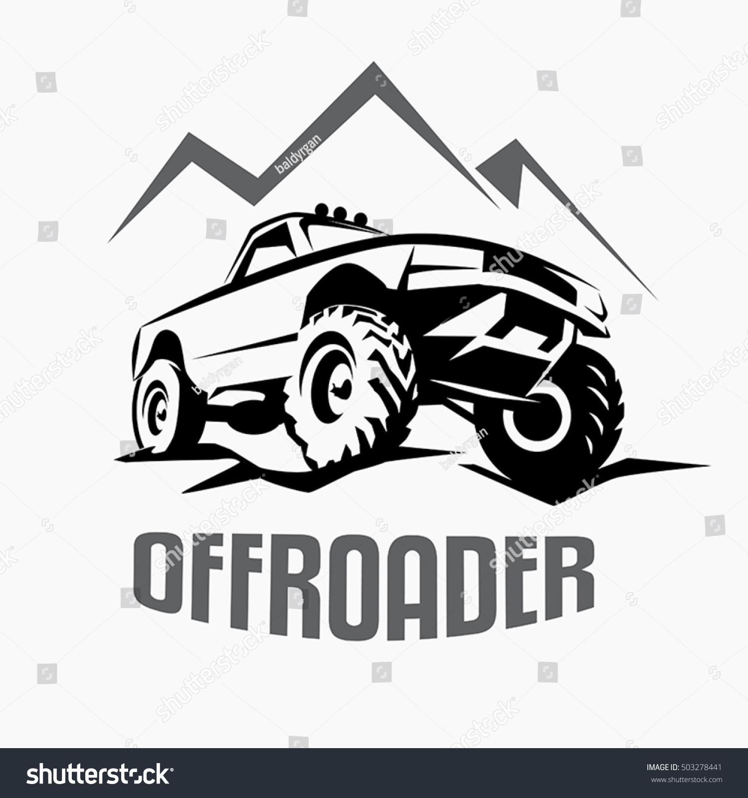 Offroad Suv Car Monochrome Template Labels Stock Vector