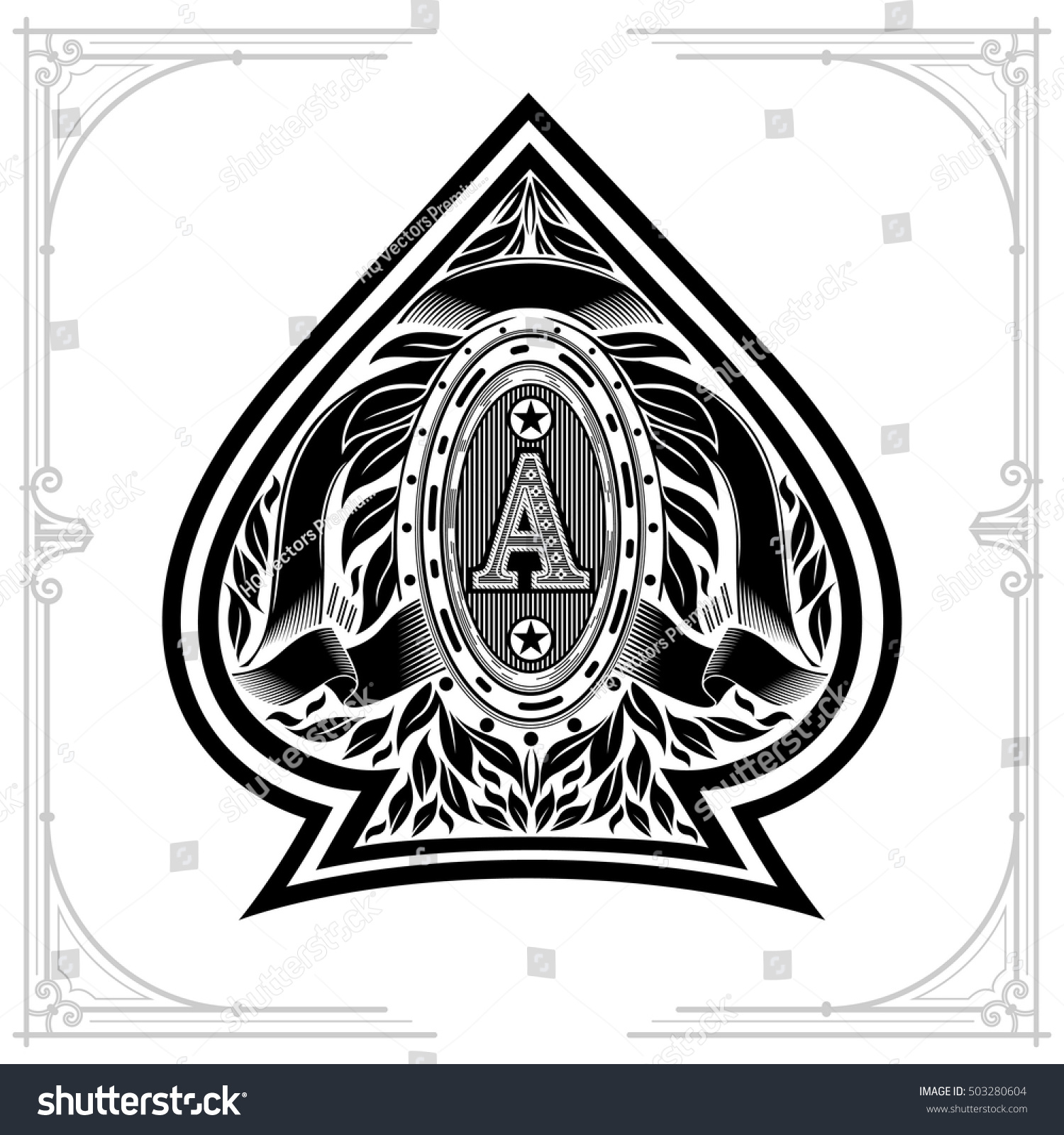 Ace spades form oval frame between stock vector 503280604 shutterstock ace of spades form with oval frame between laurel wreath and ribbon inside design playing biocorpaavc Choice Image