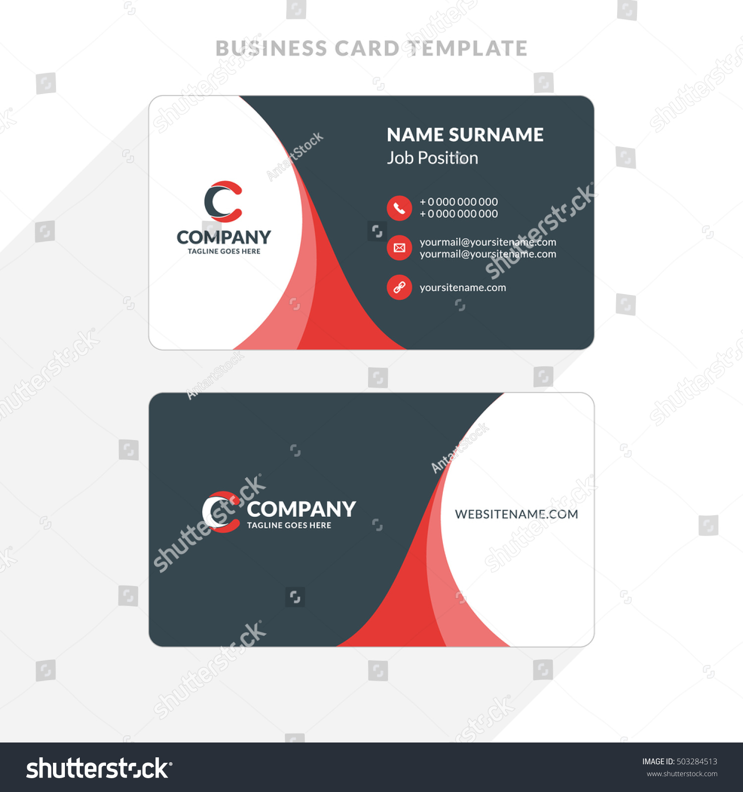 Creative clean doublesided business card template stock vector creative and clean double sided business card template red and black colors flat cheaphphosting Gallery