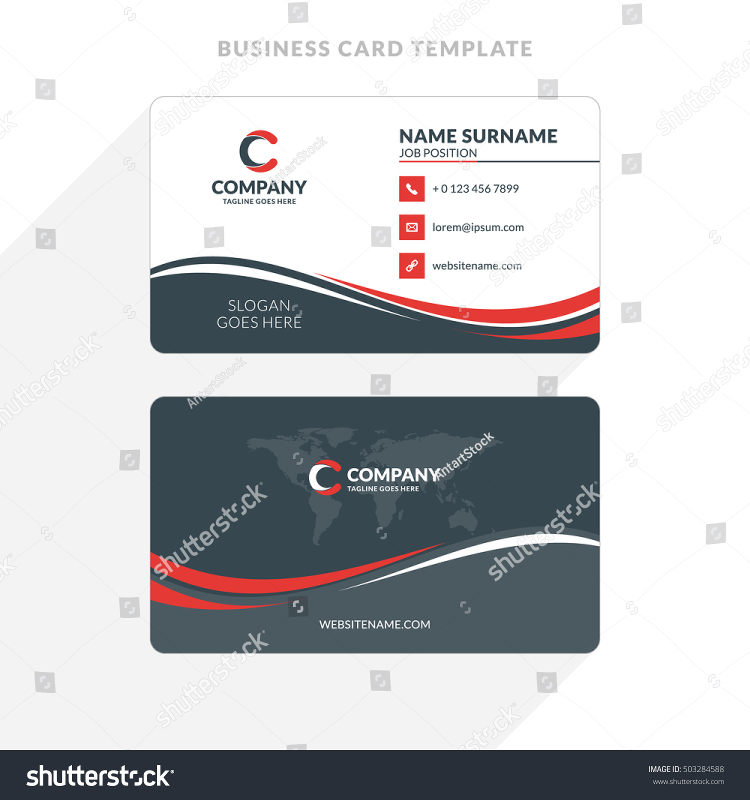 creative clean doublesided business card template stock vector 503284588 shutterstock. Black Bedroom Furniture Sets. Home Design Ideas