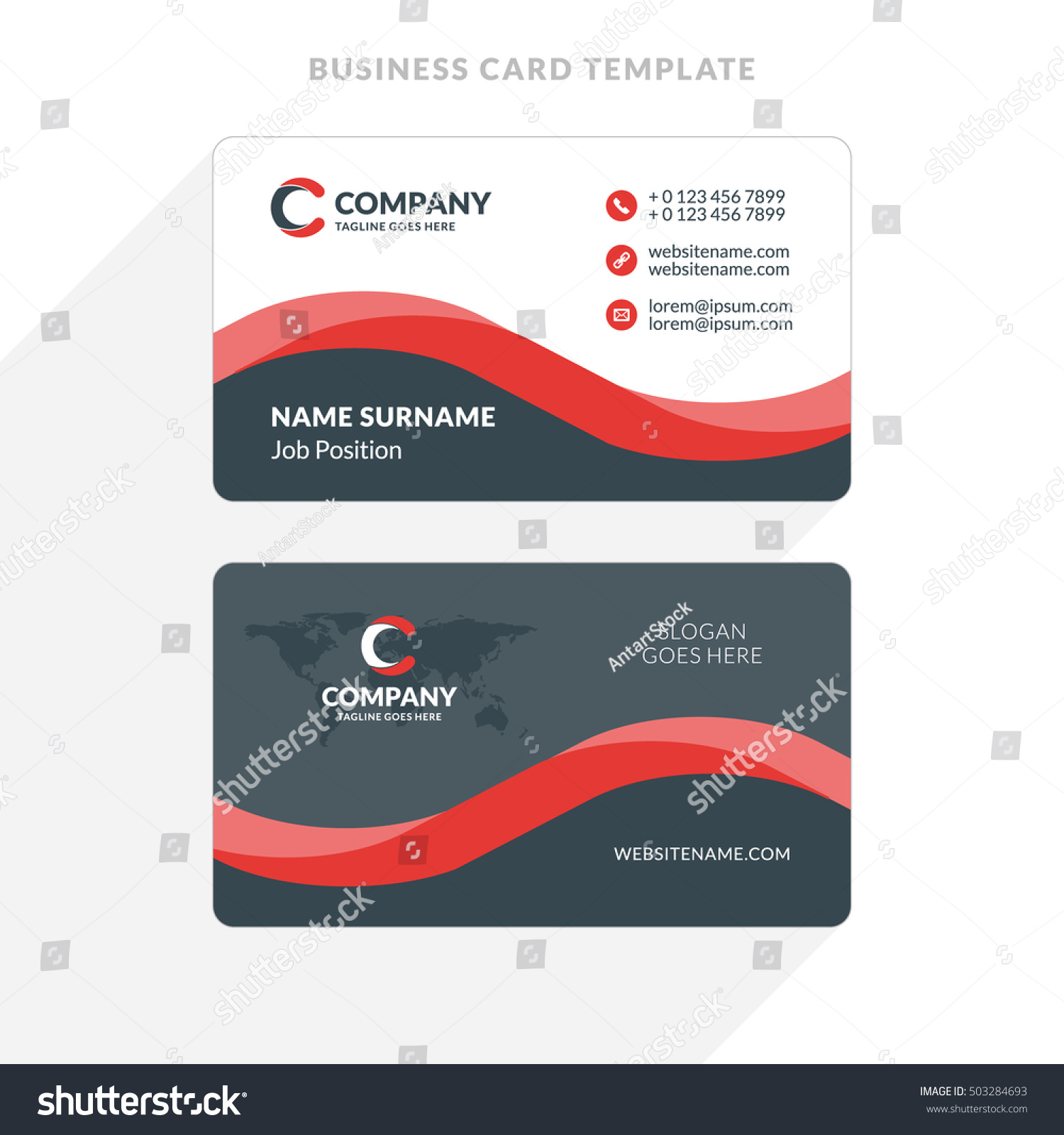 creative clean doublesided business card template stock vector 503284693 shutterstock. Black Bedroom Furniture Sets. Home Design Ideas