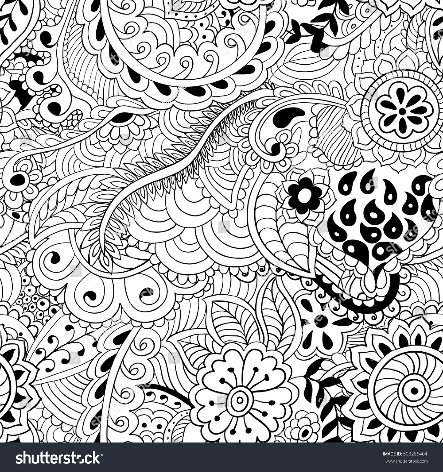 stock vector coloring pages for adults abstract vector illustration seamless pattern
