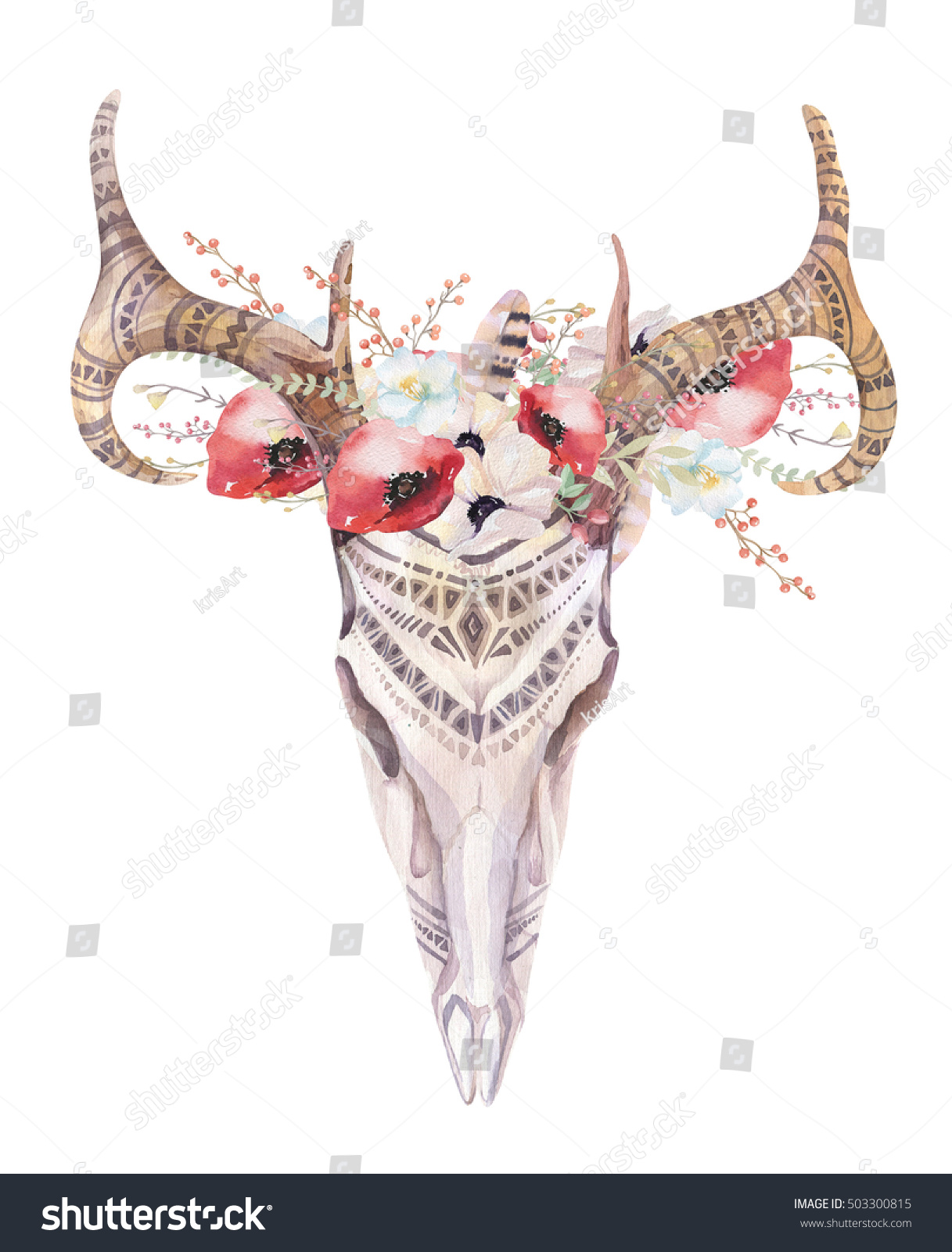 Watercolor Bohemian Deer Skull Western Mammals Stock Illustration ...