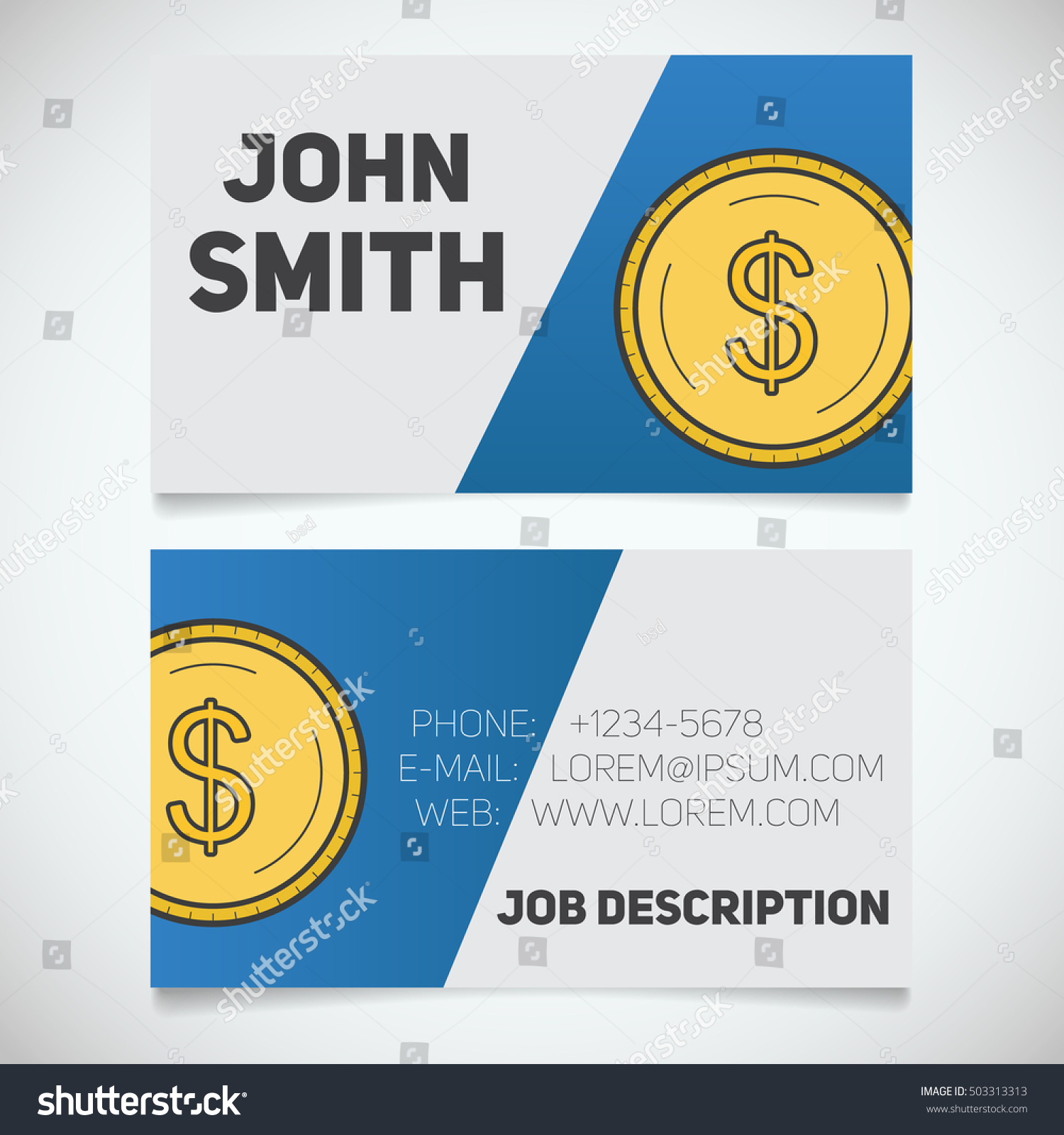 Business Card Print Template Dollar Coin Stock Vector 503313313 ...
