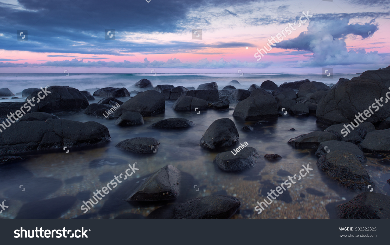 Wallpaper Burleigh Heads Beach Gold Coast Queensland: Long Exposure Stunningly Colourful Purple Blue Stock Photo