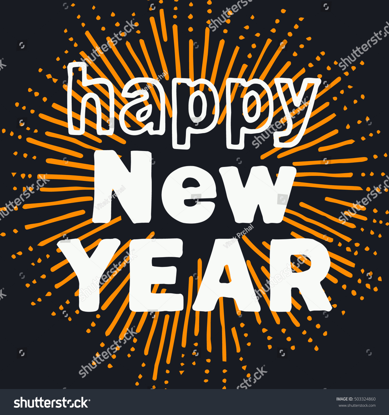 happy new year greeting card motive bold handmade letters in front of sketchy rounded sun