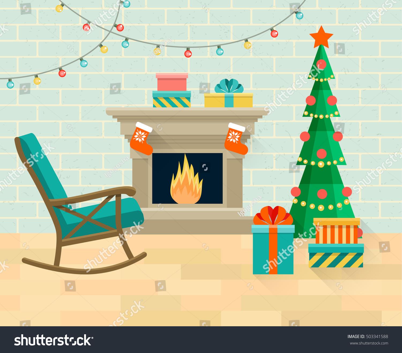 Christmas Room Stock Vector Image Of Illuminated: Living Room Rocking Chair Christmas Tree Stock Vector