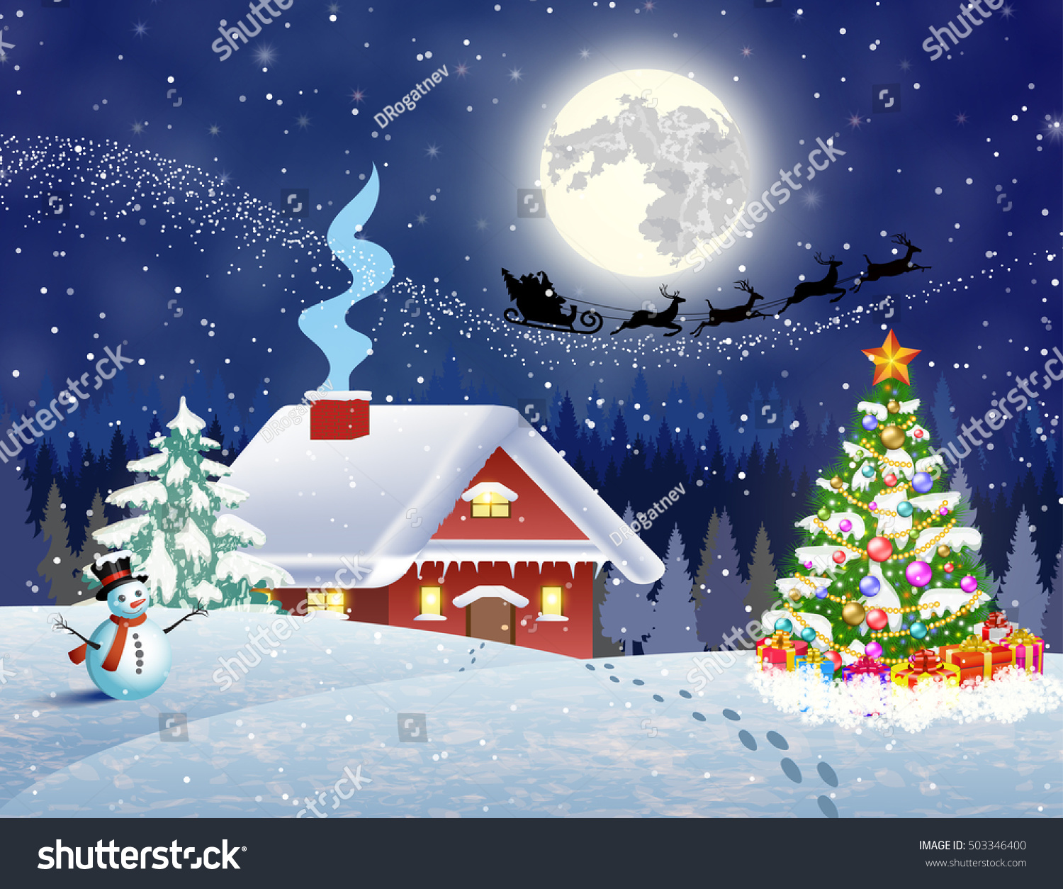 House snowy christmas landscape night christmas stock for Christmas landscape images