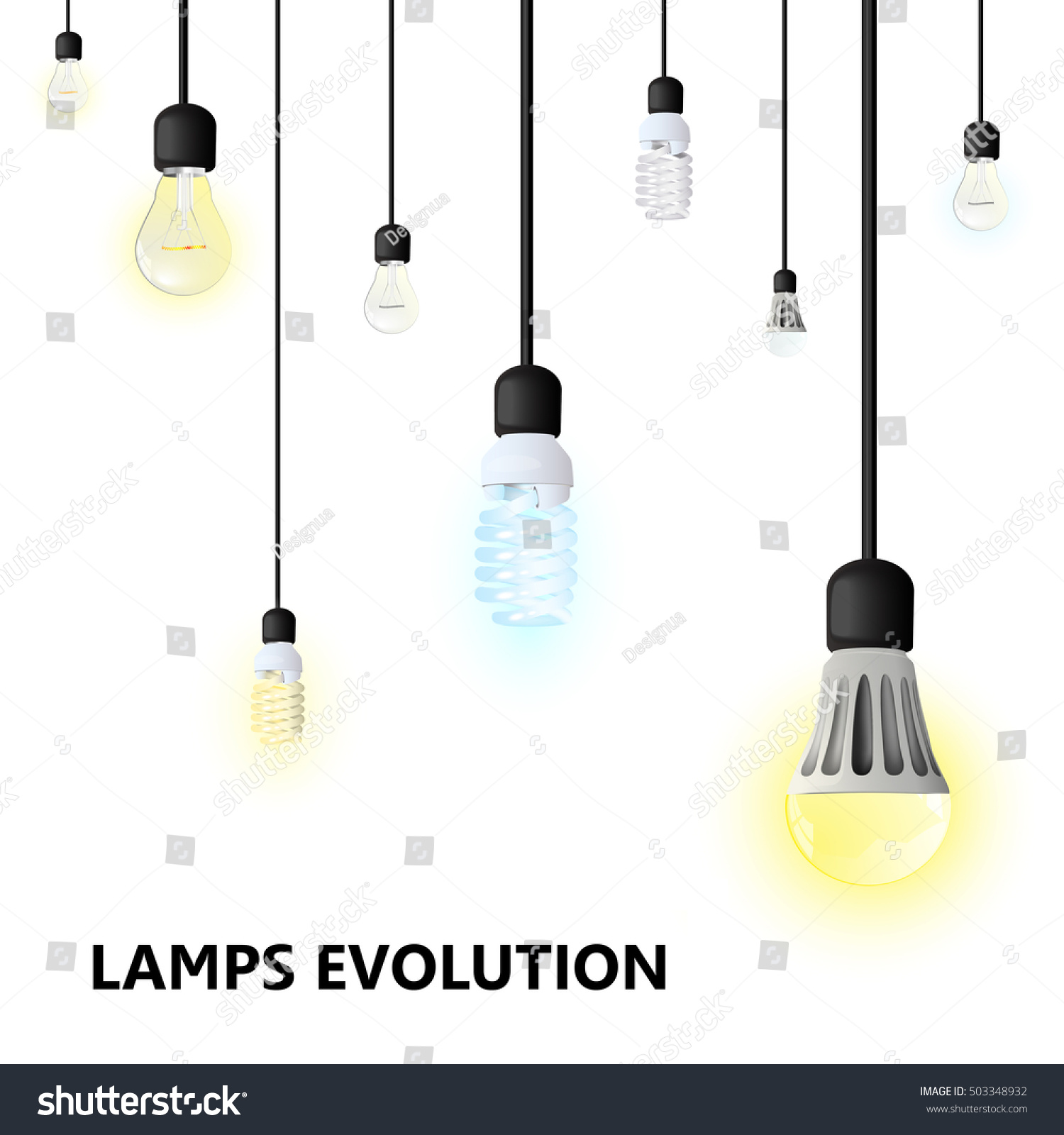 Hanging Cords Light Bulbs Stock Vector Shutterstock