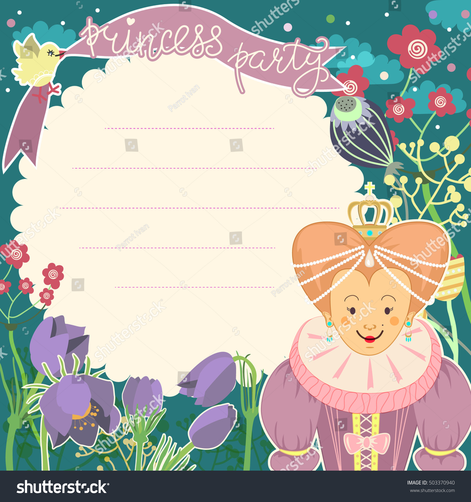 Little Princess Card Template With Blank Space For Text Birthday Party Invitation Vector