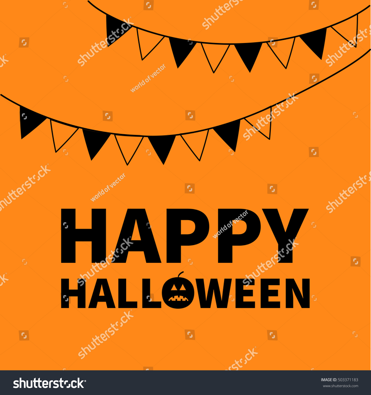Triangle Paper Flags Happy Halloween Lettering Stock Illustration
