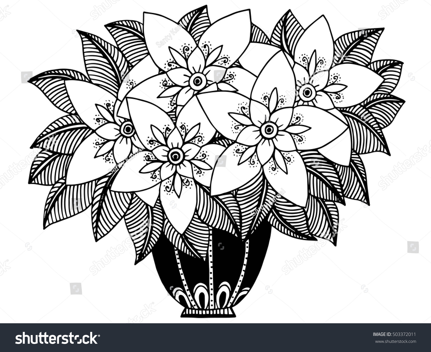 Doodle flowers vase floral pattern black stock vector 503372011 doodle flowers and a vase floral pattern in black and white colors reviewsmspy