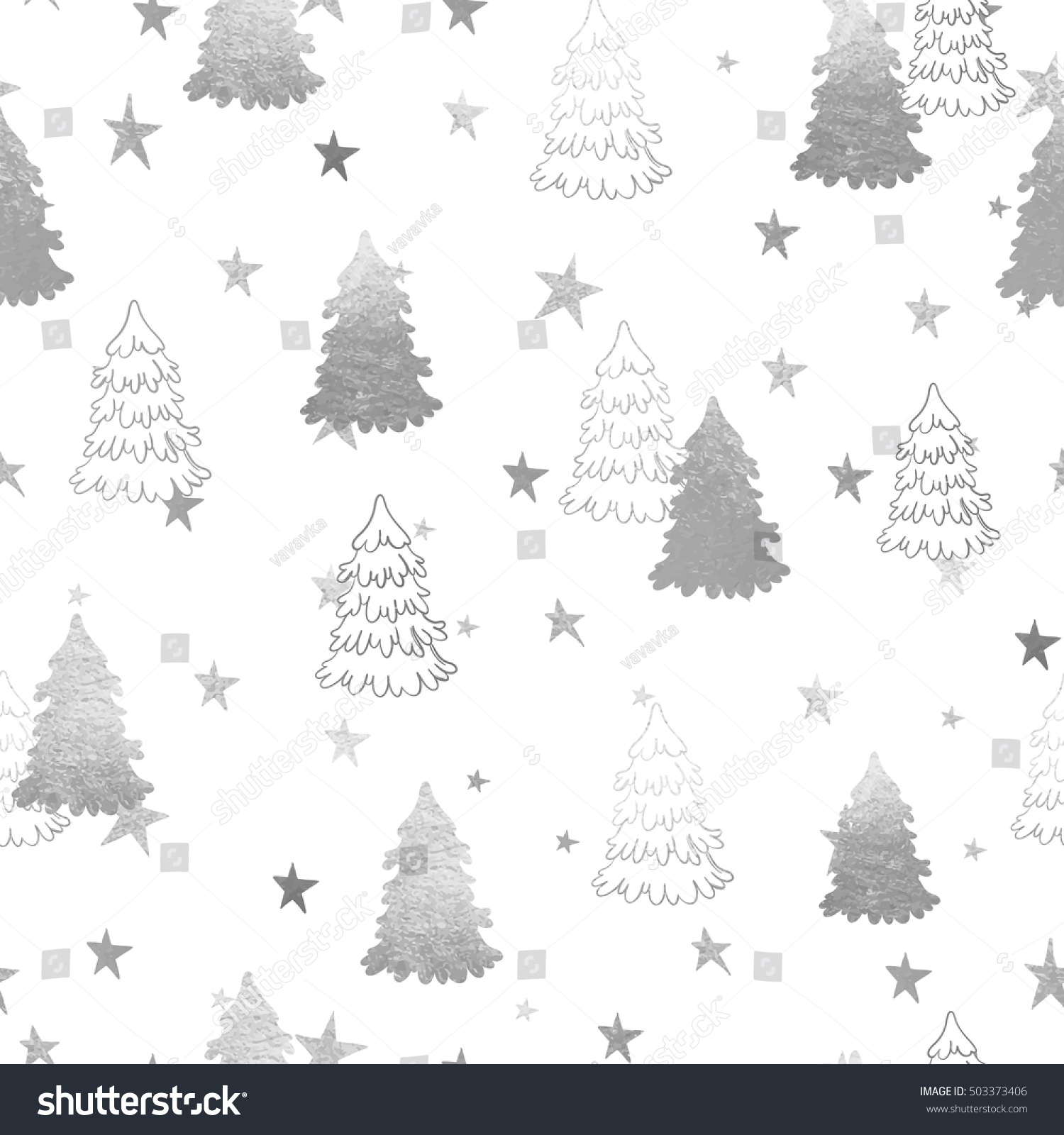 Seamless fir tree scandinavian pattern textile background wrapping - Vector Seamless Pattern With New Year Silver Christmas Trees And Magic Stars Abstract Background