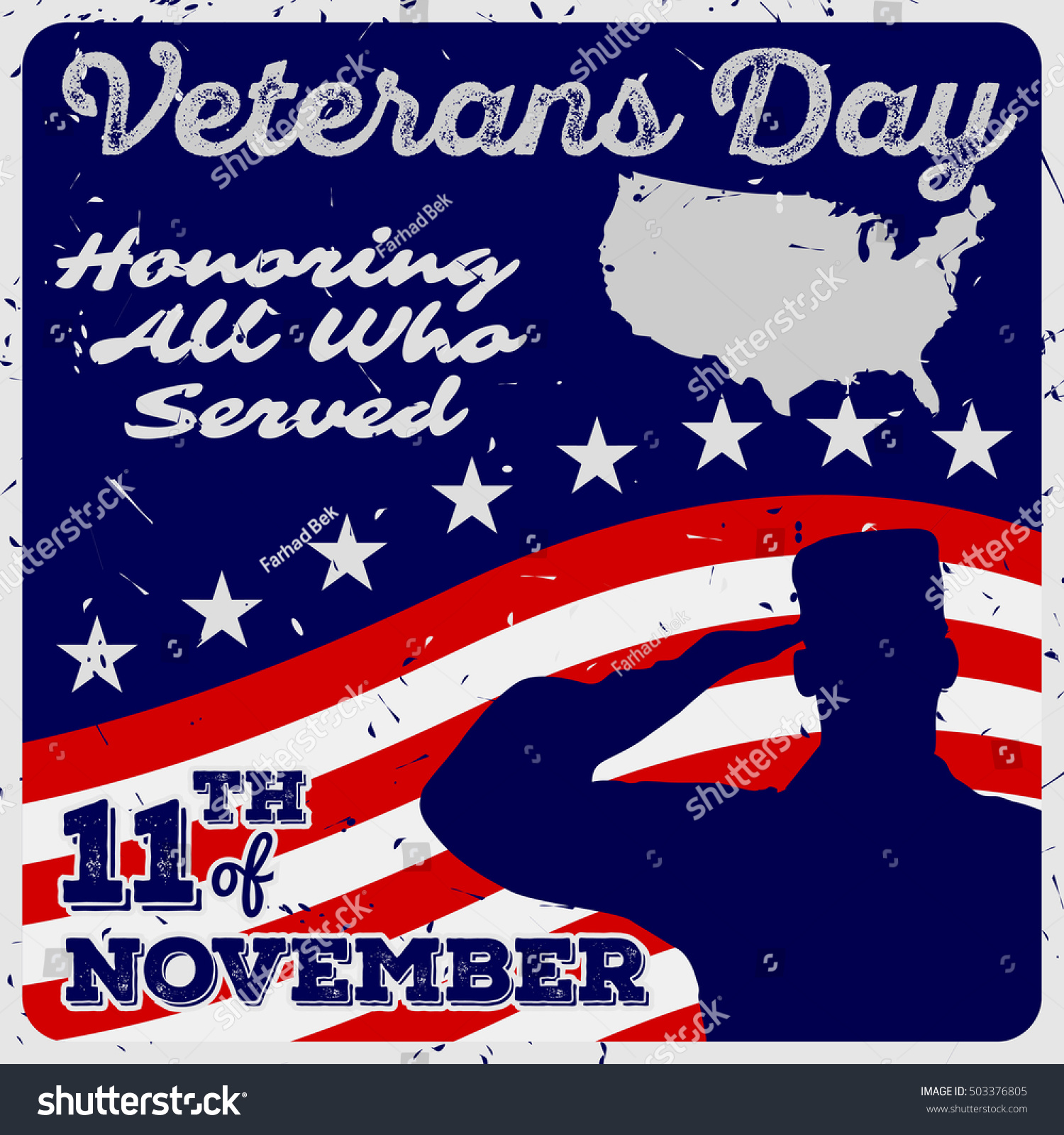 Veterans Day Poster Template Vintage Style Stock Vector 503376805 ...