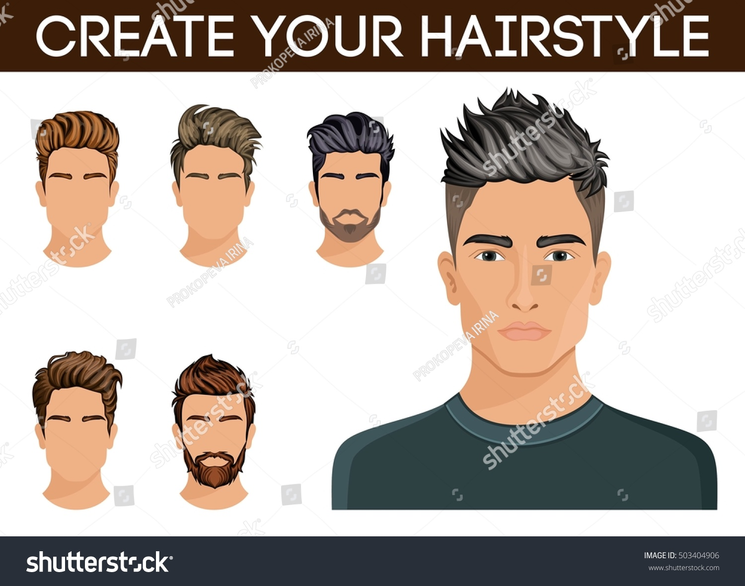 Create Change Hairstyles Men Hair Style Stock Vector Royalty Free