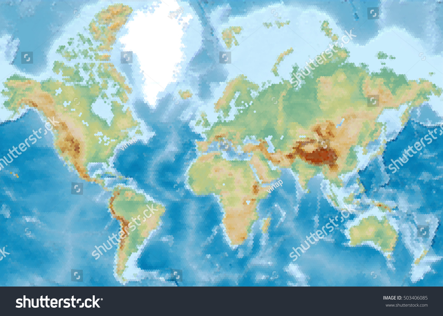 World physical vector map stylized using stock vector royalty free world physical vector map stylized using hexagons colored according to relief gumiabroncs Choice Image