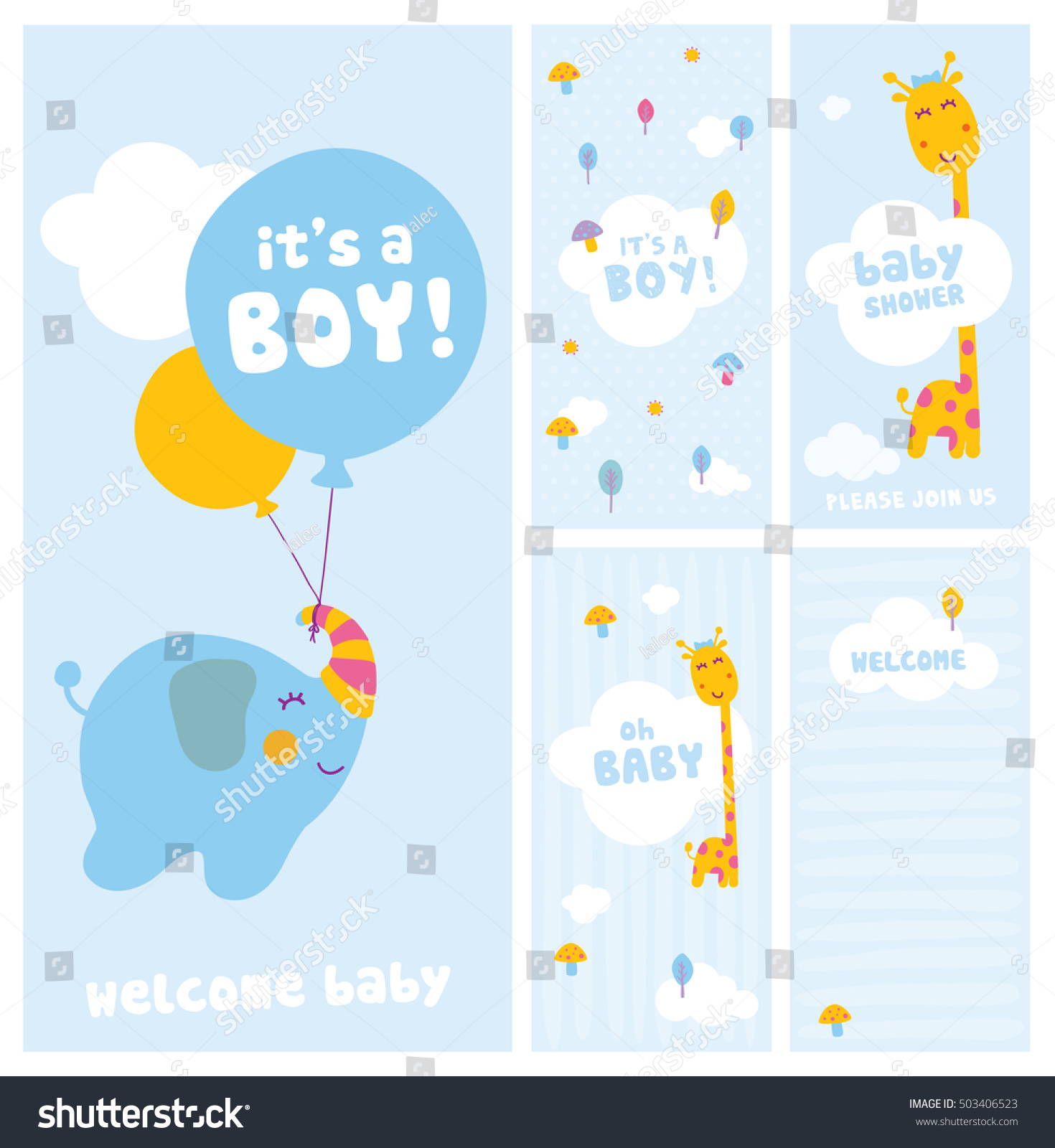 Boy Baby Shower Wel e Cards Stock Vector Shutterstock