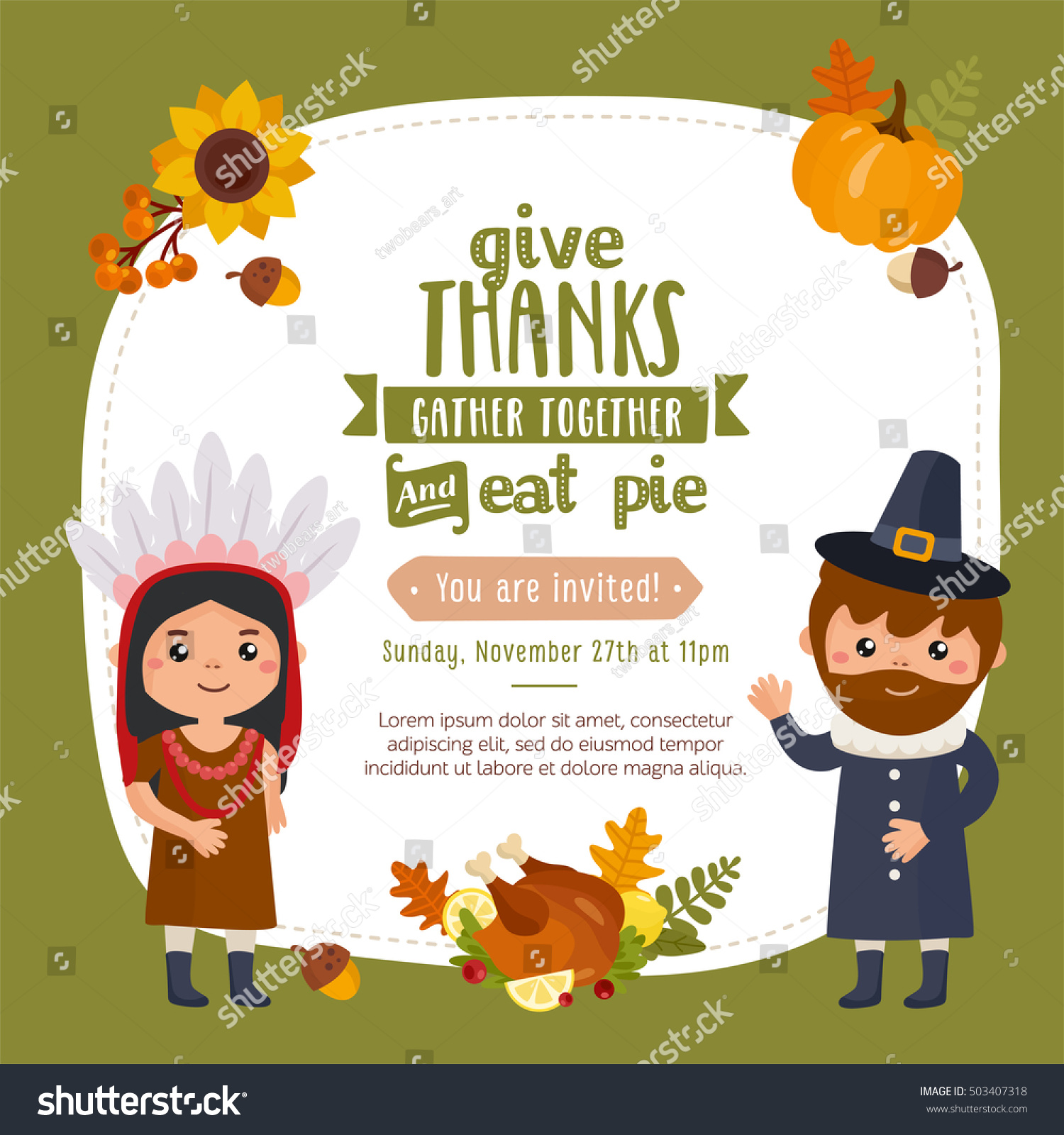 Happy thanksgiving day greeting card design stock vector 503407318 happy thanksgiving day greeting card design with indian and pilgrim in a traditional clothes kristyandbryce Choice Image