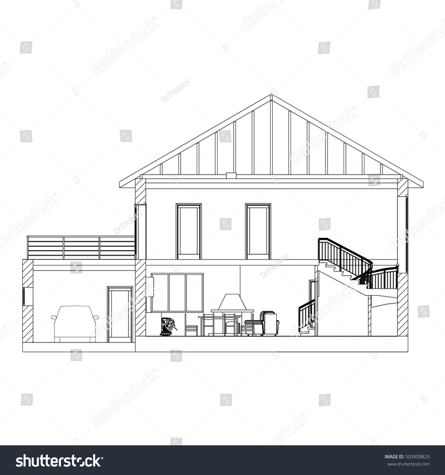 Architectural background crosssection suburban house vector vectores cross section suburban house vector blueprint malvernweather Choice Image