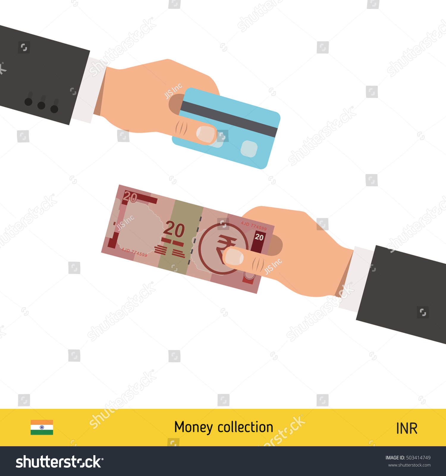Hand giving indian rupee banknote credit stock vector 503414749 hand giving indian rupee banknote and credit card instead business finance concept over white background reheart Images