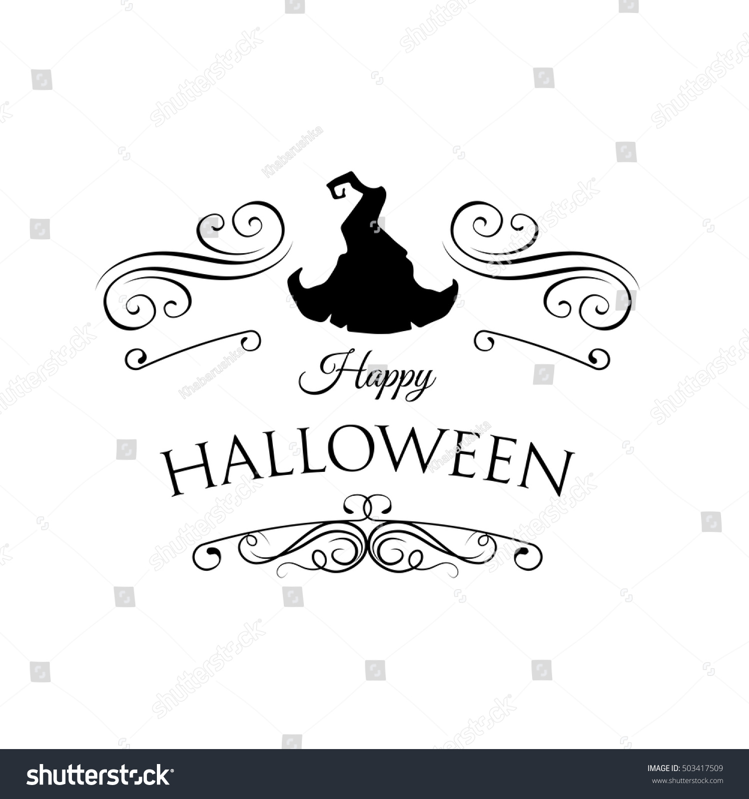 Cute Happy Halloween Card Hat Witch Stock Vector 503417509   Shutterstock