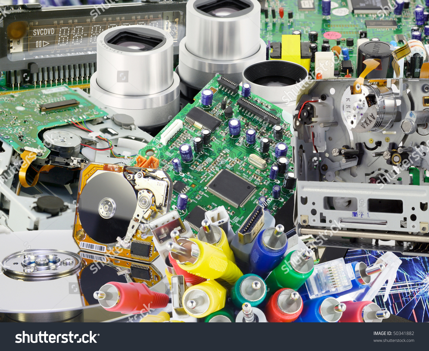 Printedcircuit Boards Electronic Spare Parts Modern Stock Photo Stockfoto Printed Circuit Board Pcb Used In Industrial The And From Digital Devices Collage Background