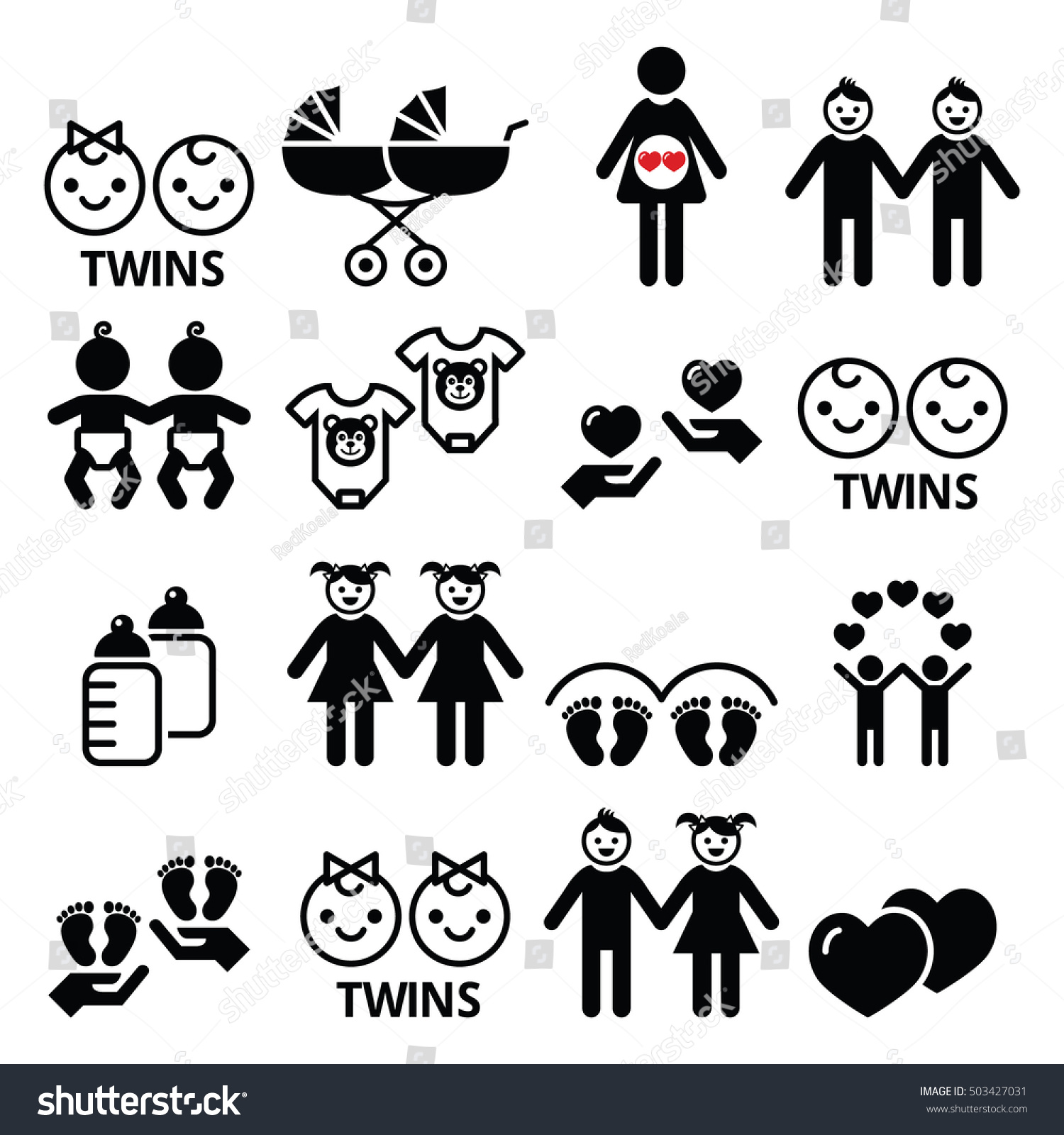 Twin Babies Icons Set Double Pram Stock Vector Royalty Free