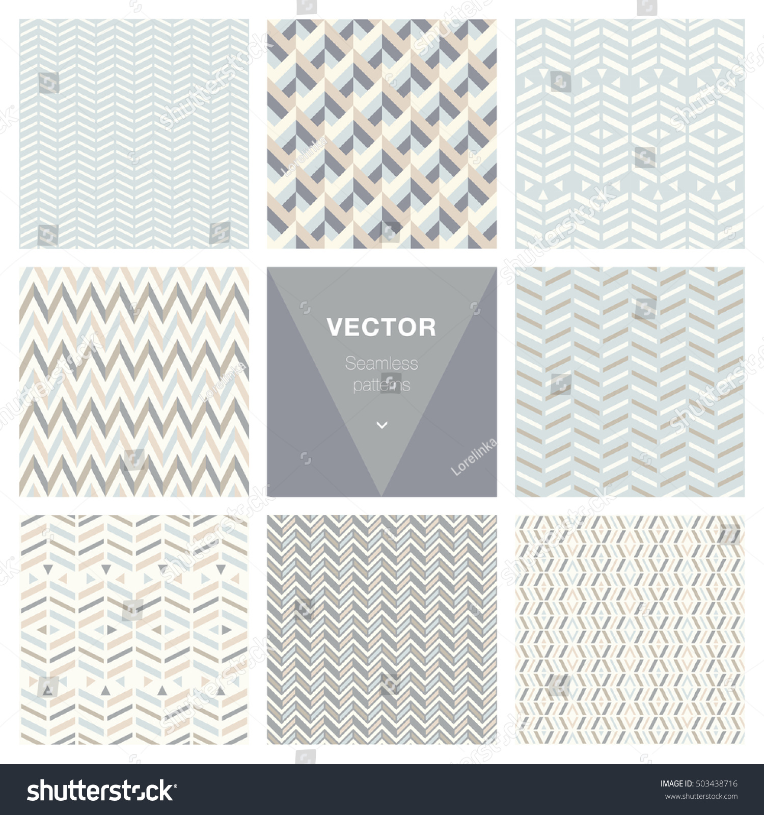set 8 popular geometric patterns stock vector 503438716