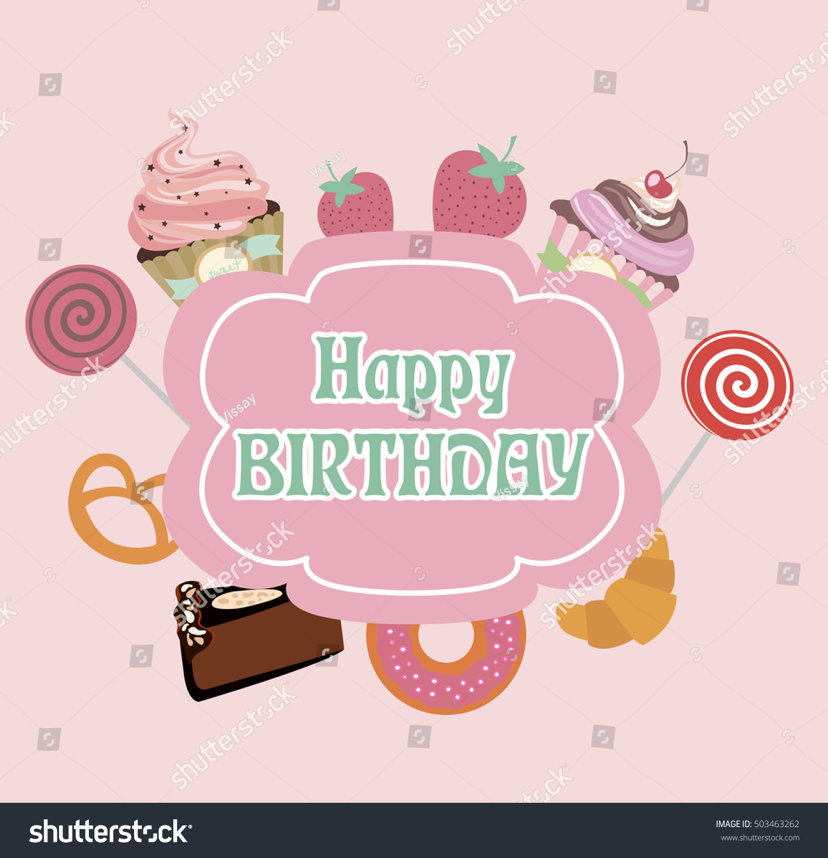 Cute Happy Birthday Invitation Greeting Card Stock Vector 503463262 ...