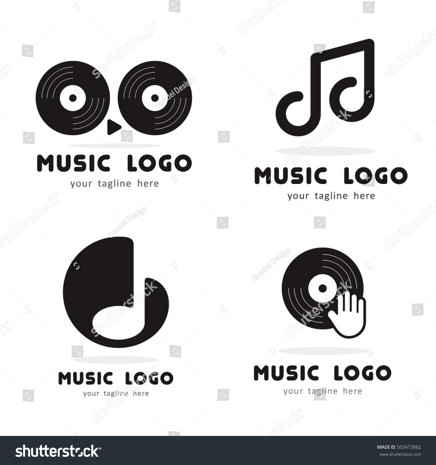 MUSIC PLAY HAND DISK DJ LOGO Stock Vector (Royalty Free) 503473882 ...