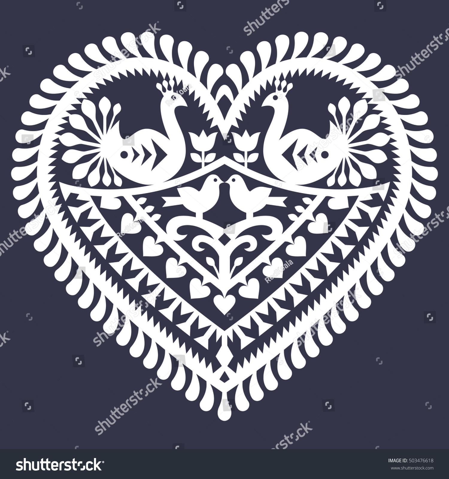 Folk Heart Pattern Valentines Day Wycinanki Stock Vector Royalty
