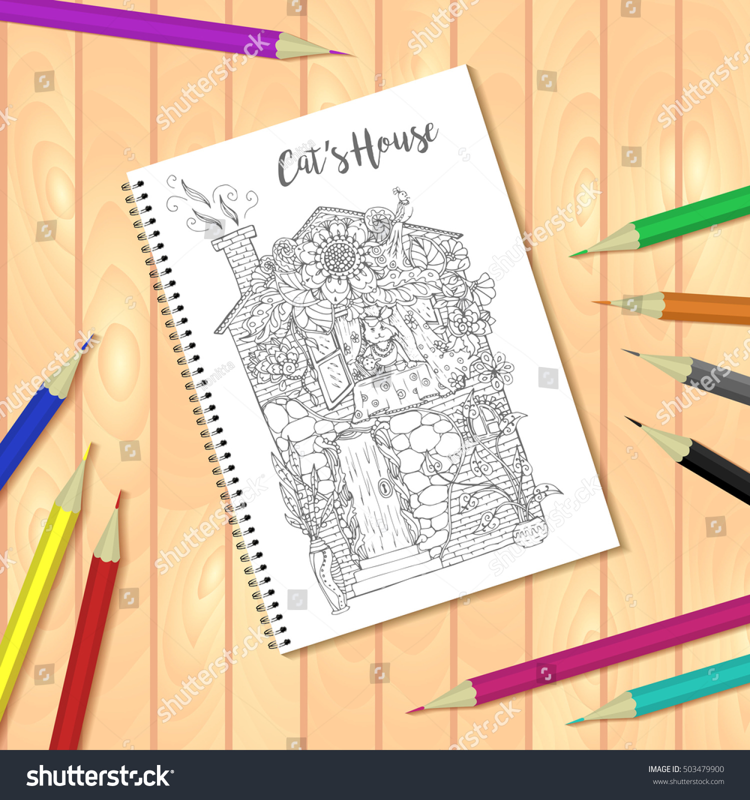 spiral bound notepad or coloring book with colorful pencils and coloring pages picture house with - Coloring Book Paper Stock