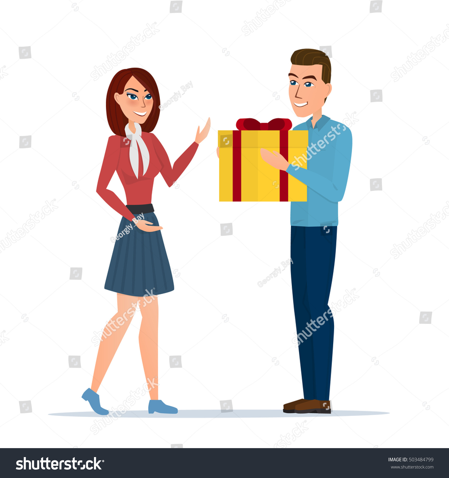 Cartoon boy giving girl gift box 503484799 cartoon boy giving girl a gift box vector illustration isolated on white background in flat negle Image collections