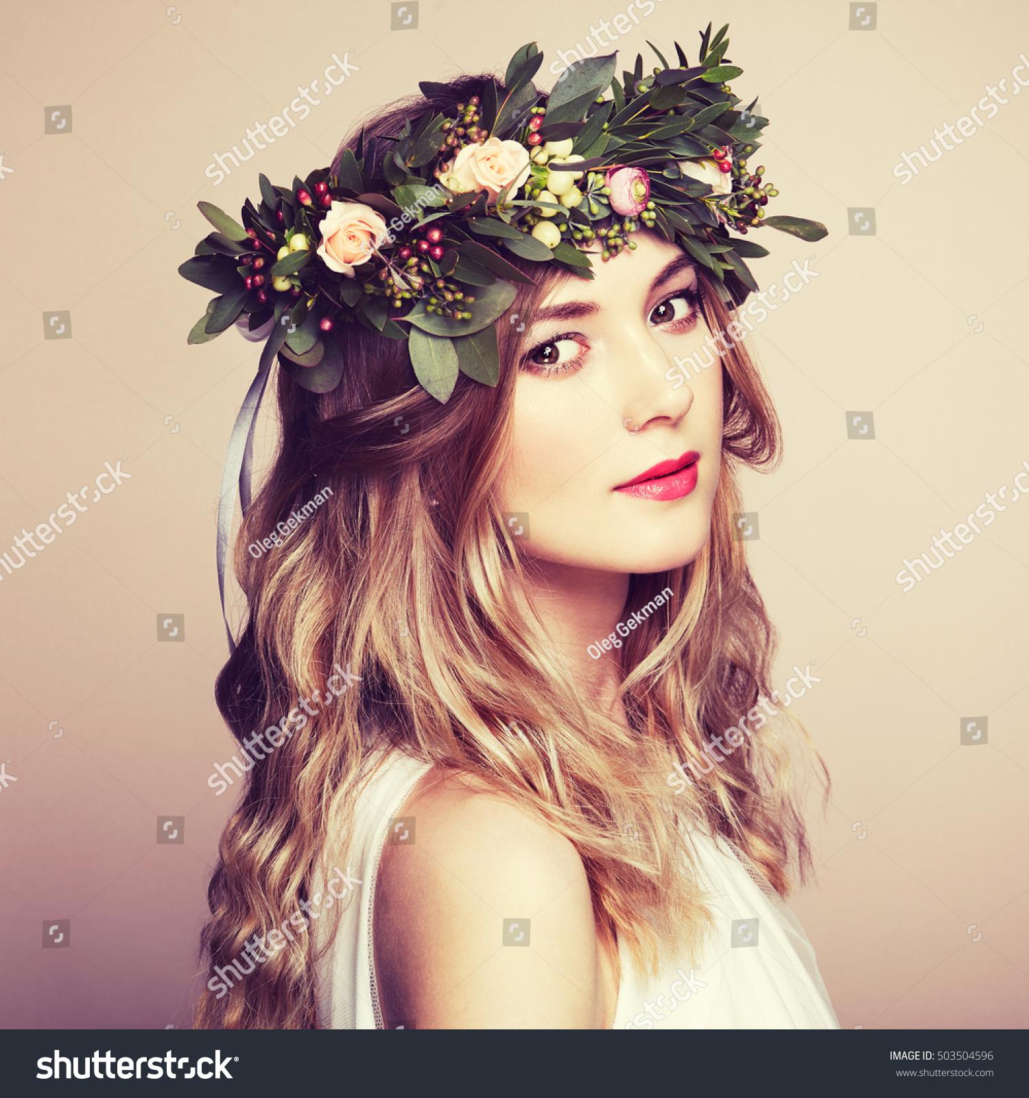 Beautiful blonde woman flower wreath on stock photo image royalty beautiful blonde woman with flower wreath on her head beauty girl with flowers hairstyle izmirmasajfo