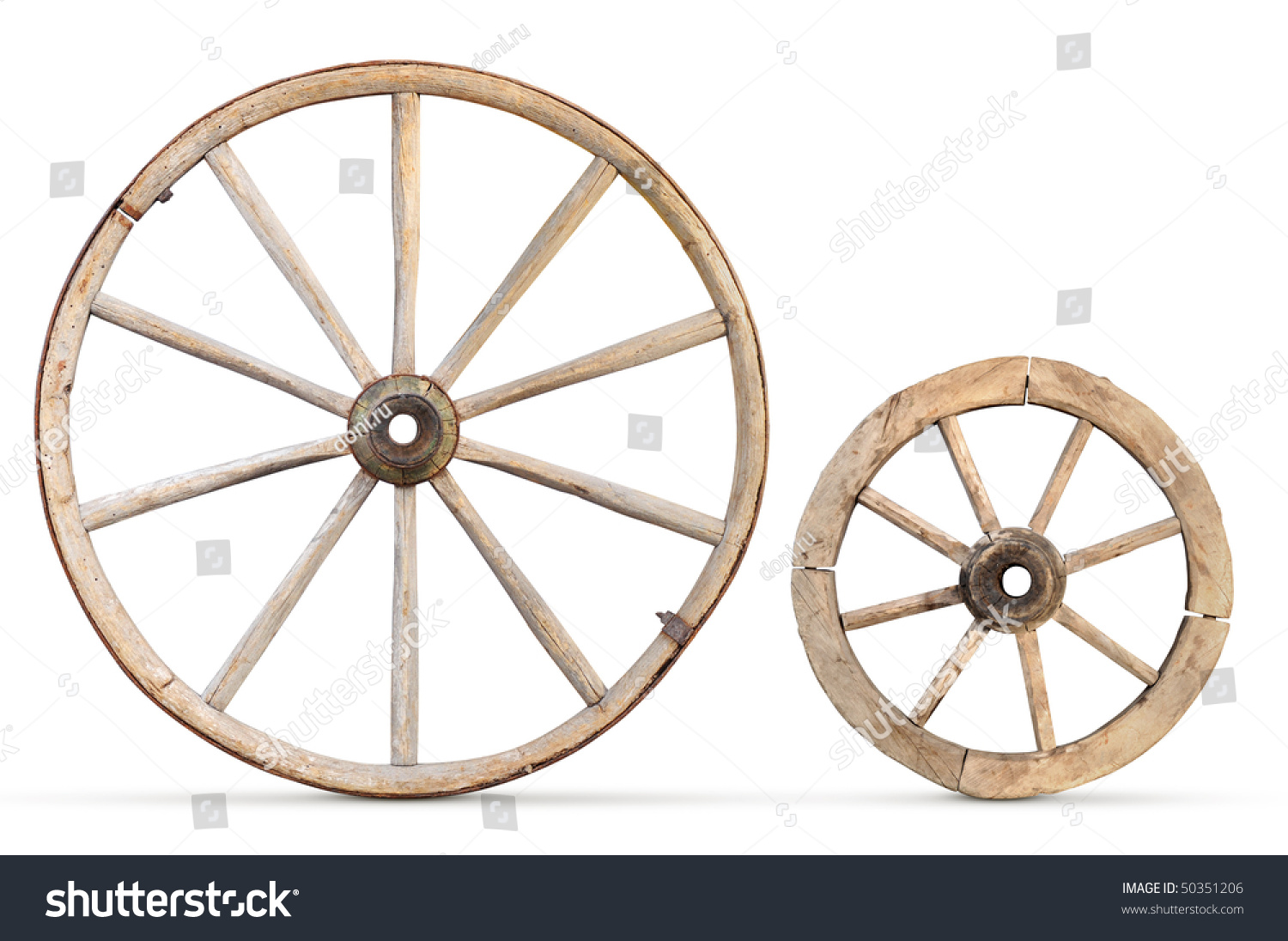 Two Antique Wood Wheels Stock Photo 50351206 Shutterstock