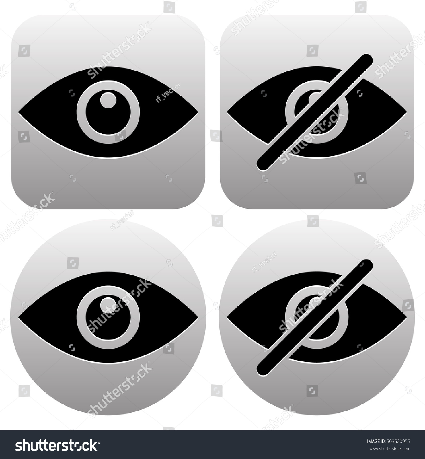 Eye Symbols Show Hide Visible Invisible Stock Illustration 503520955