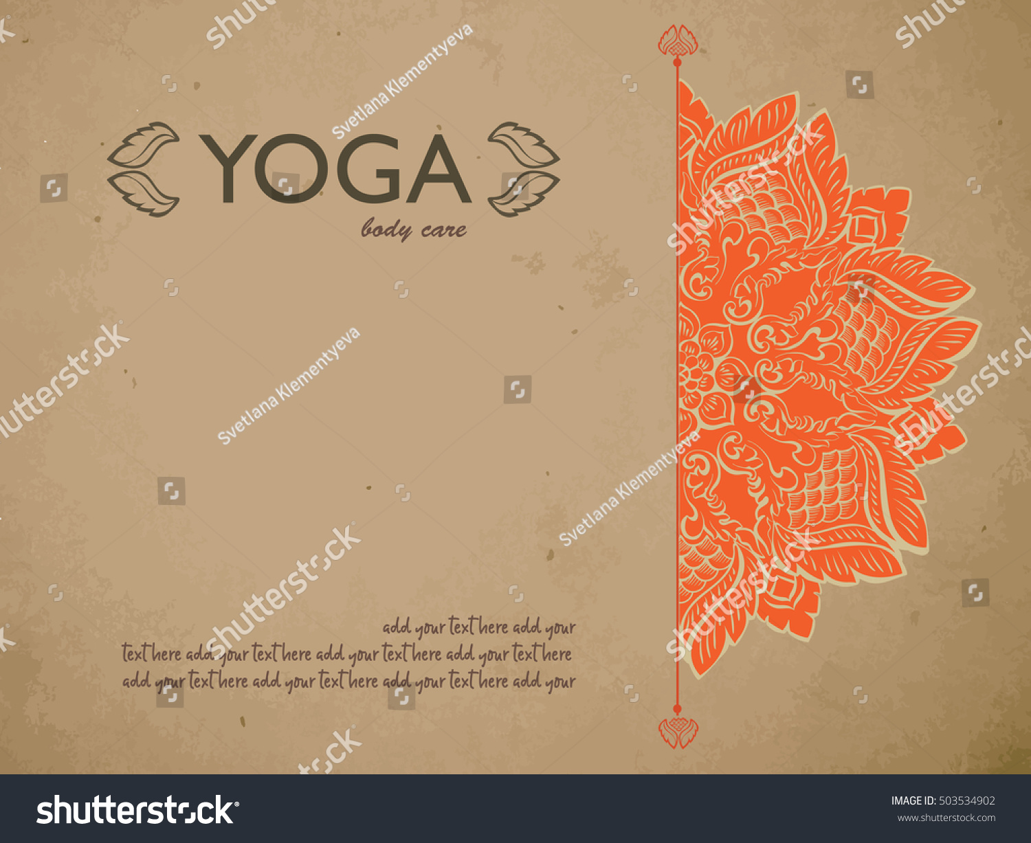 Yoga Gift Certificate Template Mandala Text Stock Vector Royalty