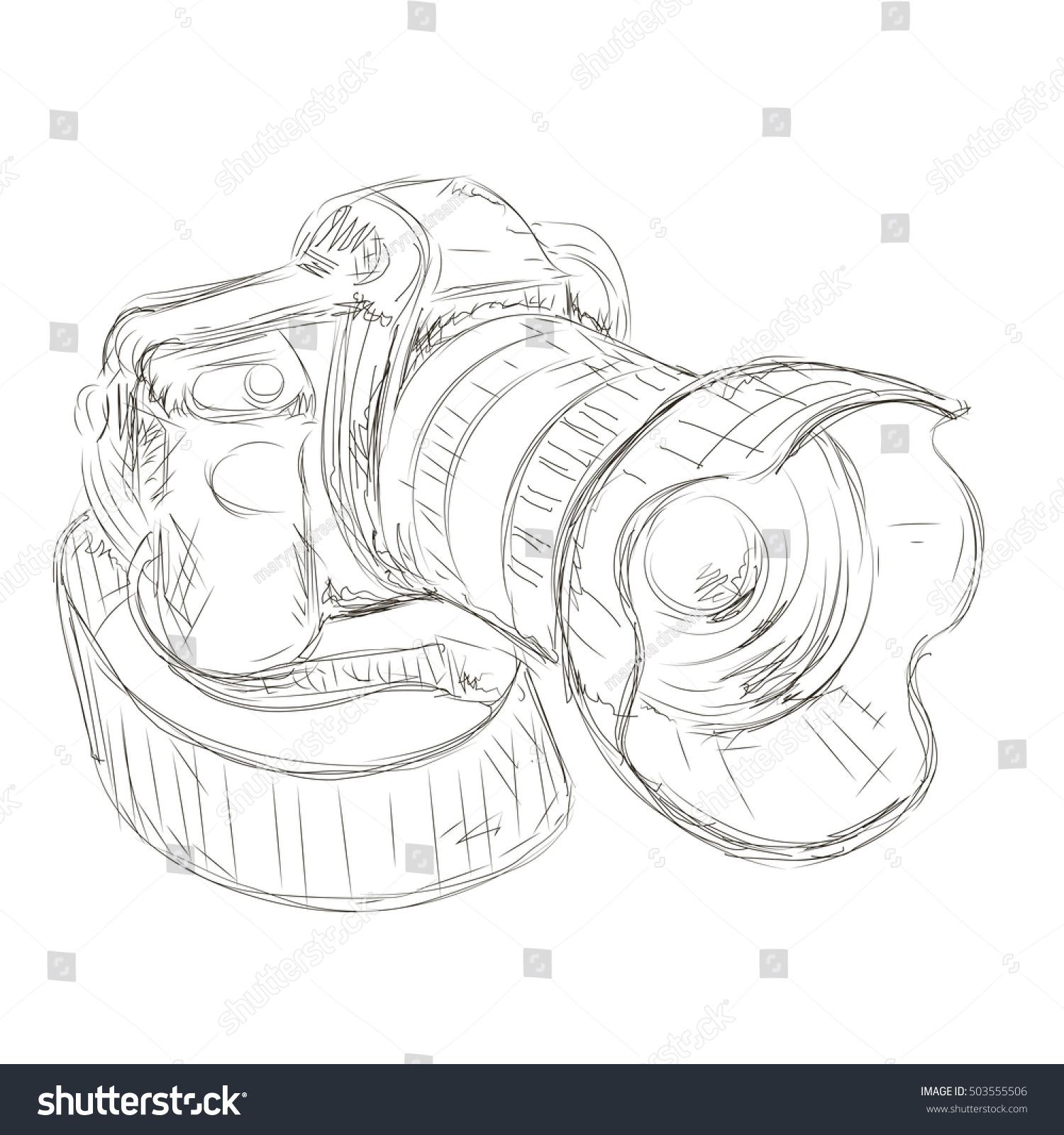 Camera pencil sketch