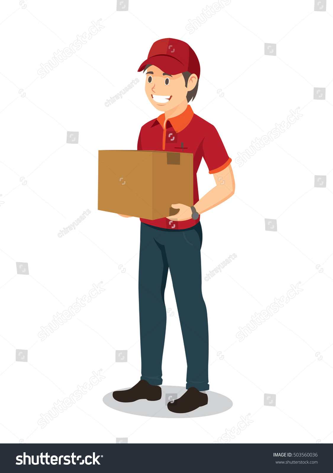 Parcel Delivery Man Holding Large Box Stock Vector (Royalty Free ...