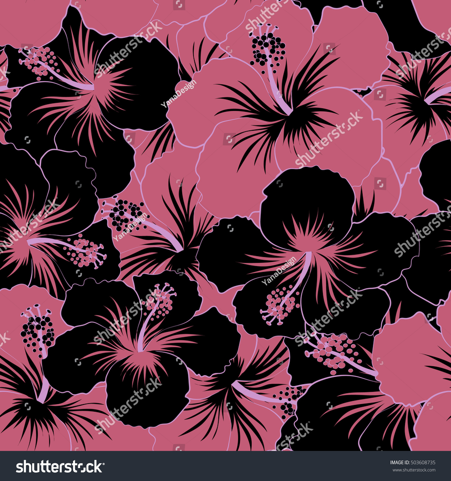 Pretty Black Pink Floral Print Motley Stock Vector Royalty Free