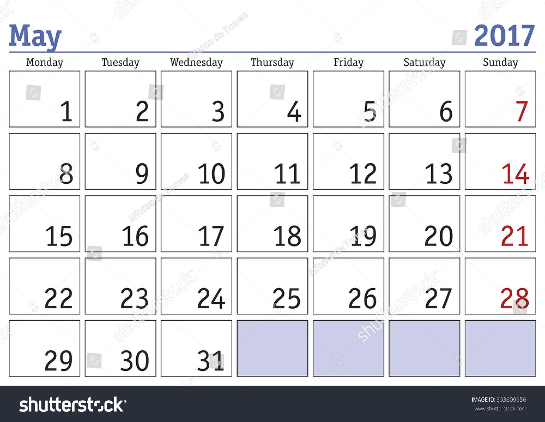 May Calendar Vector : Simple digital calendar may vector stock