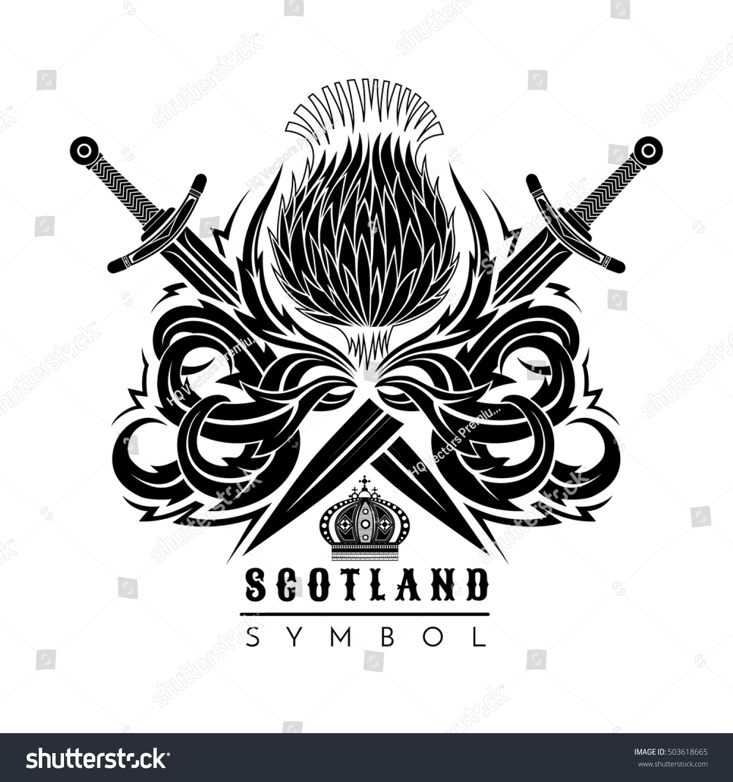 Silhouette Thistle Leaf Pattern Cross Swords Stock Vector (Royalty ...
